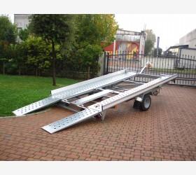 Carrello trasporto auto basculante con rampe posteriori